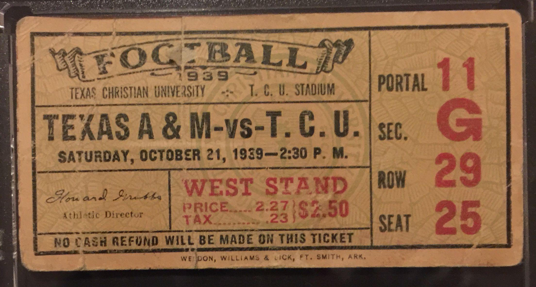 1939 Texas A&M TCU / football ticket stub / A&M won 206
