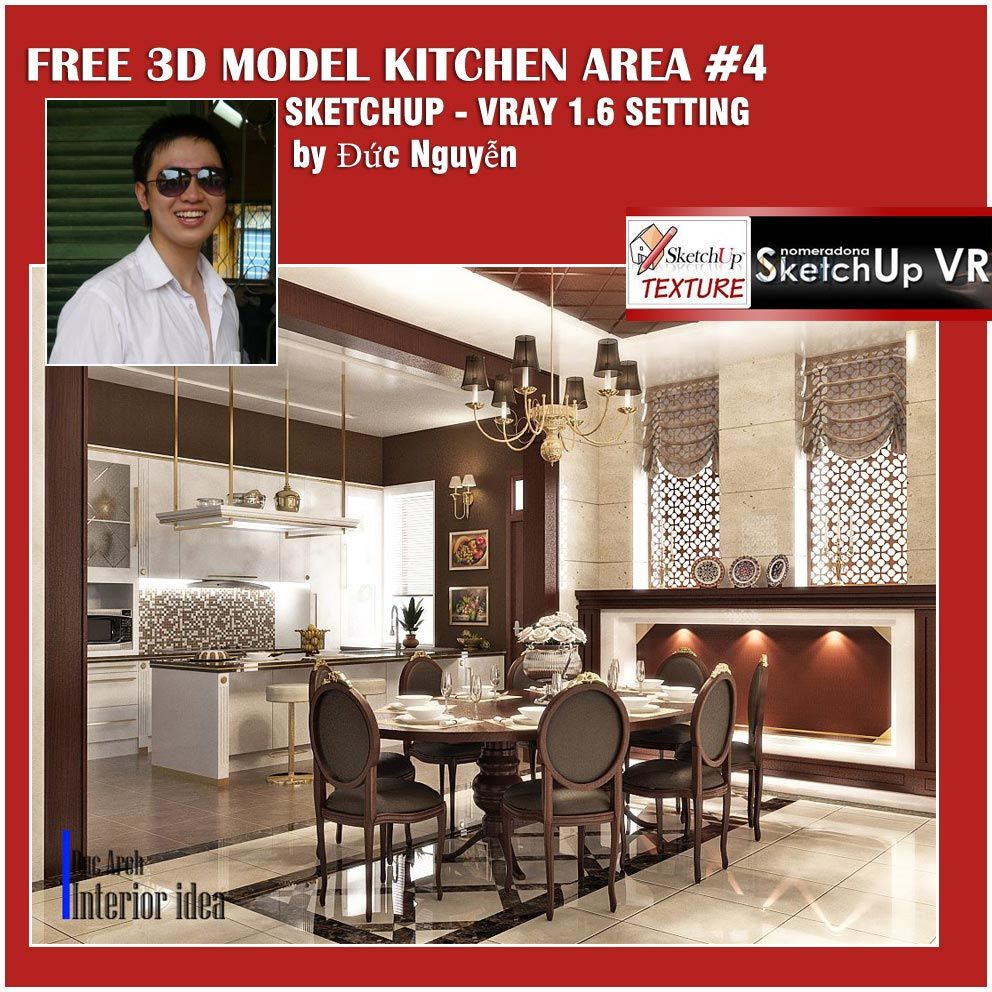 SKETCHUP TEXTURE: SU 3D MODEL KITCHEN AREA #4 VRAY 1 6