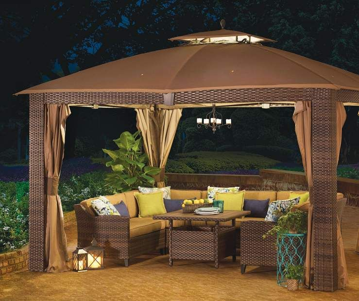 Wilson Fisher Sonoma Gazebo And Modular Patio Seating Collection Big Lots Backyard Gazebo Cozy Backyard Patio Gazebo