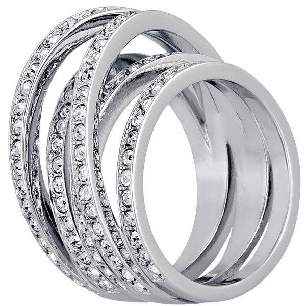 e4e5e024f1 Swarovski Rhodium-Plated Size 6 Spiral Ring 1156304 - Swarovski -... (£85)  ❤ liked on Polyvore featuring jewelry, rings, rhodium plated jewelry, spiral  ...