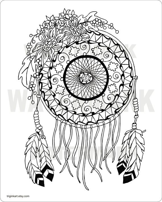 Sunflower Dream Catcher Adult Coloring Page By Triginkart On Etsy