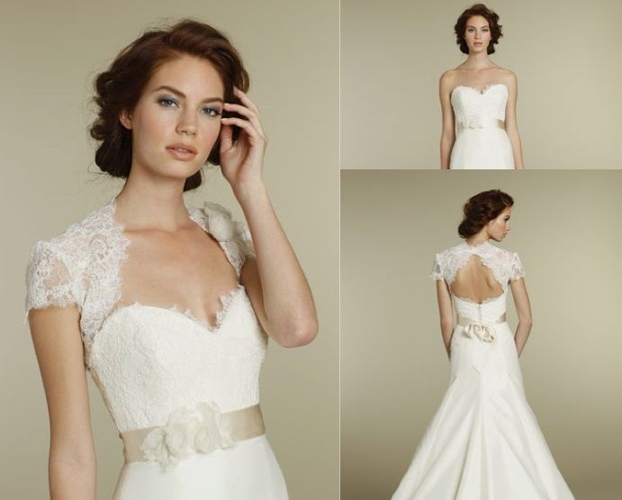 Removable Lace Shoulder Cover Up Creates The Illusion Of A
