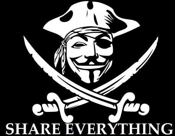 Anonymous pirate share everything die cut vinyl sticker decal