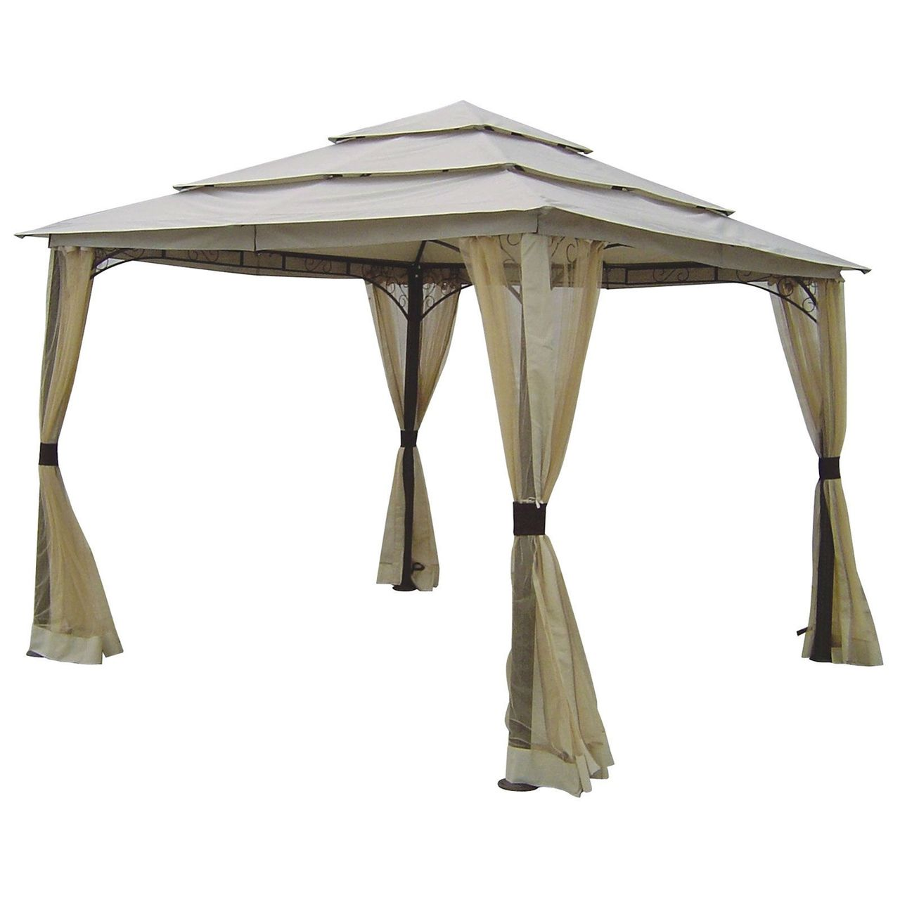 10 Ft X 10 Ft Outdoor Steel Frame Gazebo With Mosquito Netting Screen And Canopy Gazebo Gazebo Pergola Gazebo Replacement Canopy