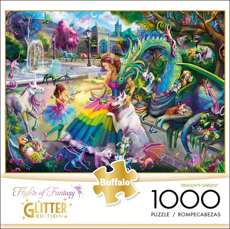 Flights Of Fantasy Dragon S Garden Glitter Edition 1000 Piece Jigsaw Puzzle 1000 Piece Jigsaw Puzzles Dragon Garden Buffalo Games