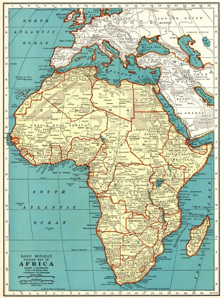 1940 Vintage AFRICA MAP Antique Collectible Map of Africa Gallery ...