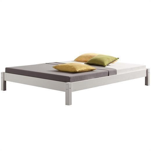 Futonbett Doppelbett Jugendbett Bett Kiefer massiv weiß 120 x 200 cm