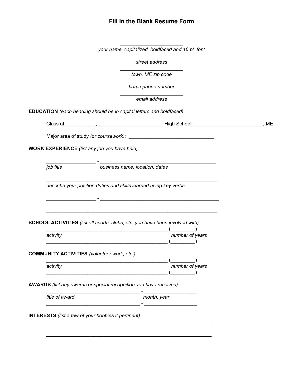 blank job resume form