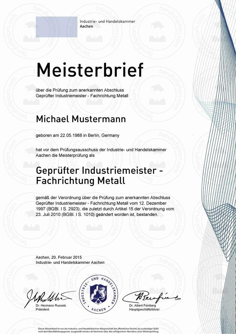 HWK Meisterprüfungszeugnis kaufen, Hauptschulabschluss online kaufen ...