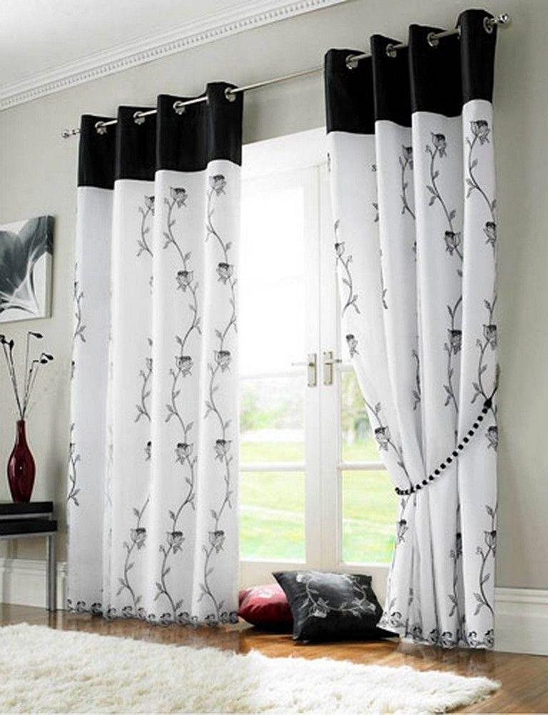 black white curtains