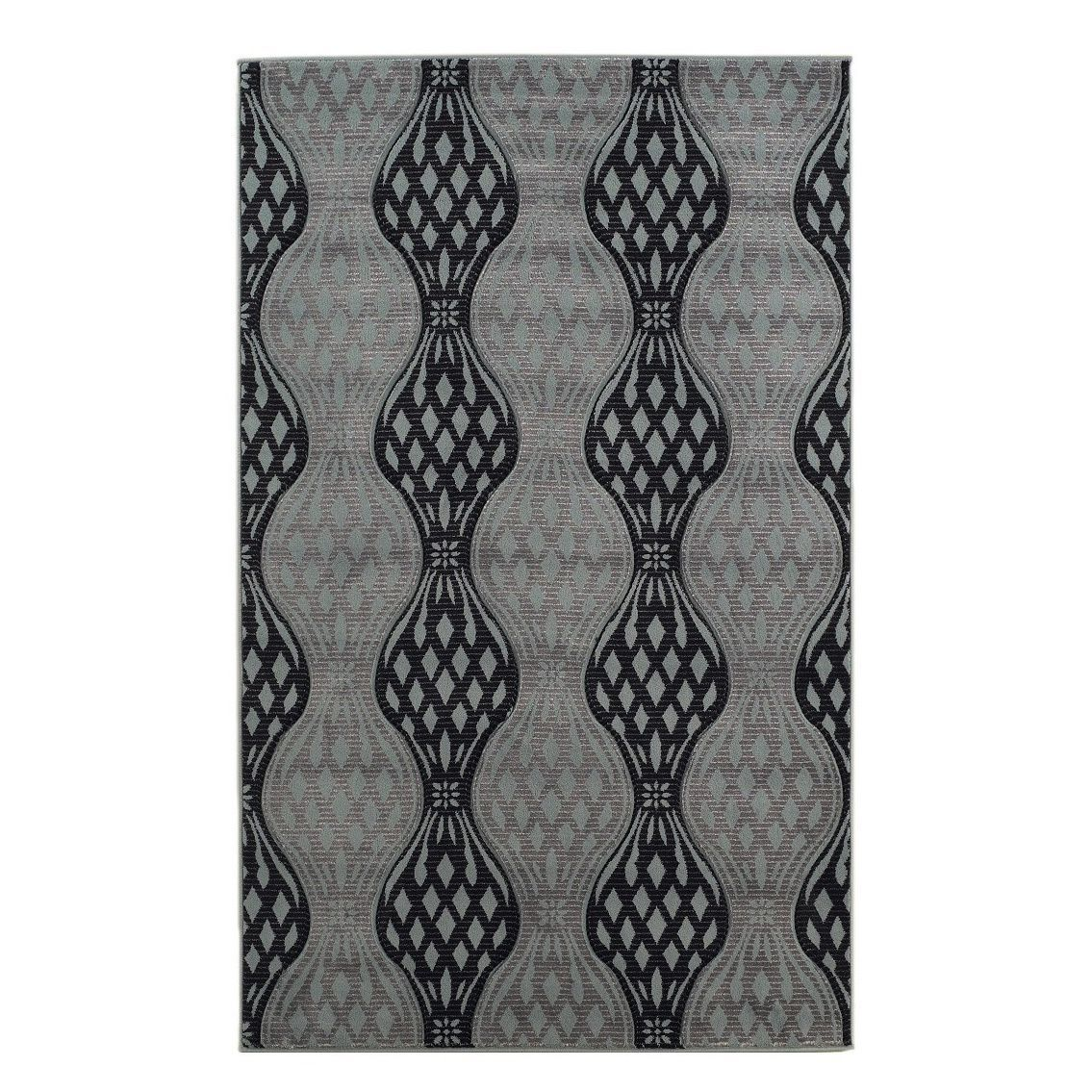 Linon milan collection black turquoise abstract area rug u x u