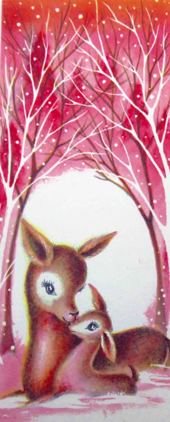 Vintage Reindeer Christmas Greeting Card