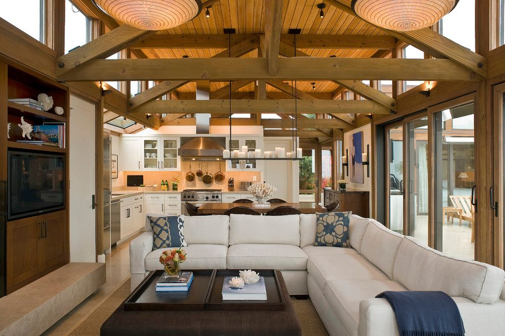 Small L Shaped Sofa In Living Room Beach With Clerestory