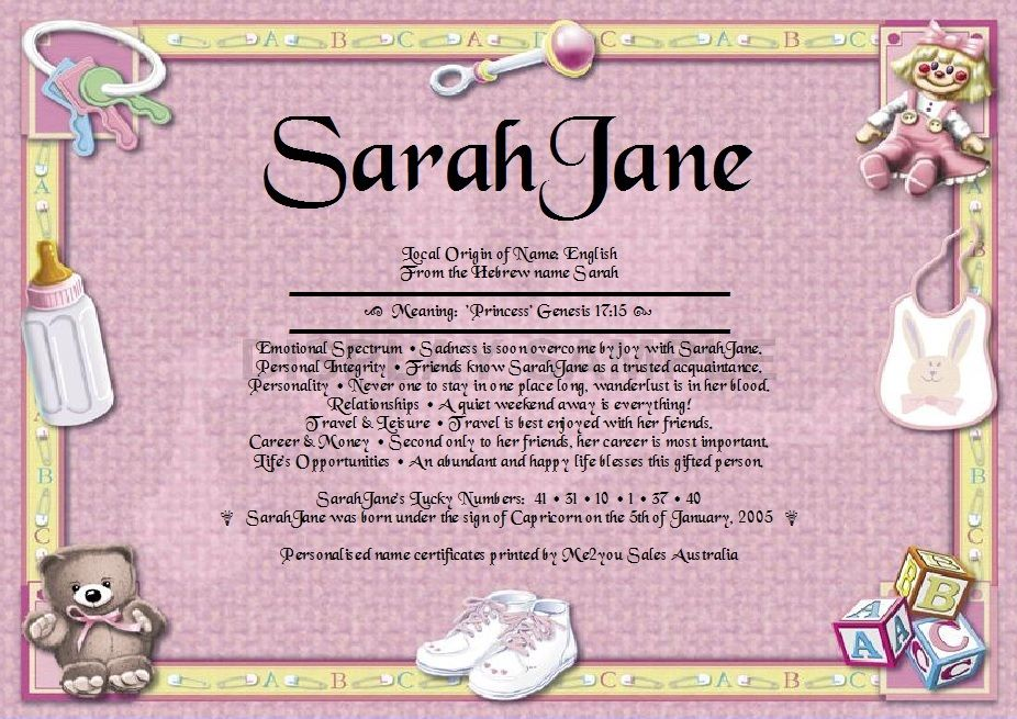 Personal First Name Meaning Certificates - New Born Girl Have any ...