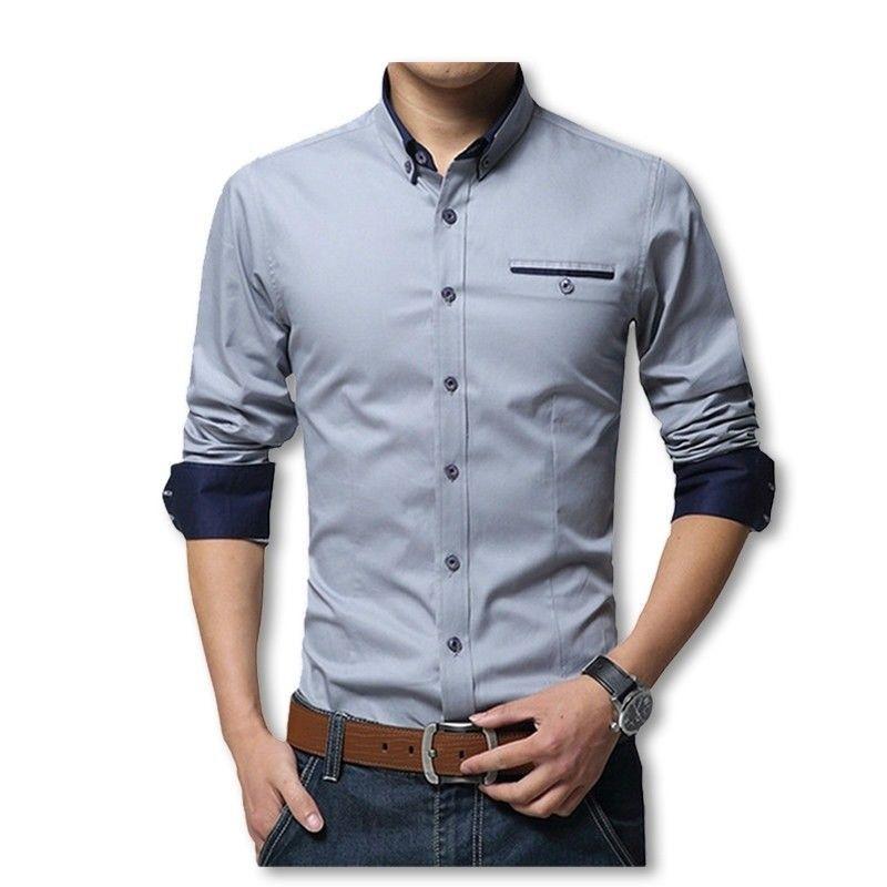 376e909e24 2019 New Cotton Shirts Men High Quality Long Sleeve Slim Fit Shirt Casual  Camisa  fashion  clothing  shoes  accessories  mensclothing  shirts (ebay  link)