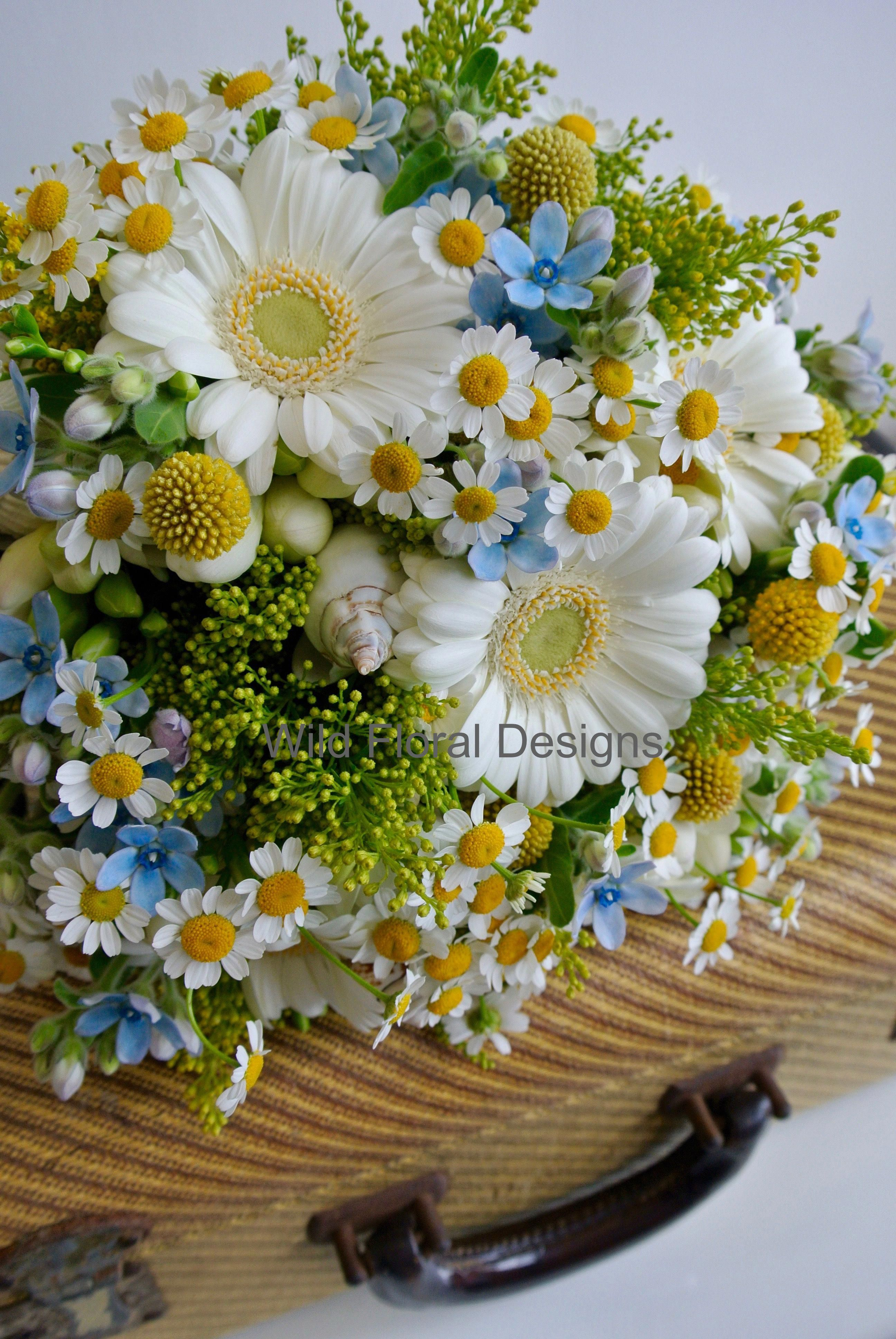 Summer Brides Bouquet White Germini Mini Gerbera Daisy Solidago Shells Freesia Englis Daisy Bouquet Wedding Daisy Wedding Flowers Flower Bouquet Wedding