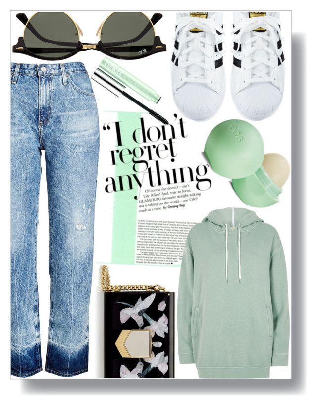 """""""Untitled #1202"""" by sc-styles ❤ liked on Polyvore featuring AG Adriano Goldschmied, Jimmy Choo, adidas, River Island, Ray-Ban, Clinique and Eos"""