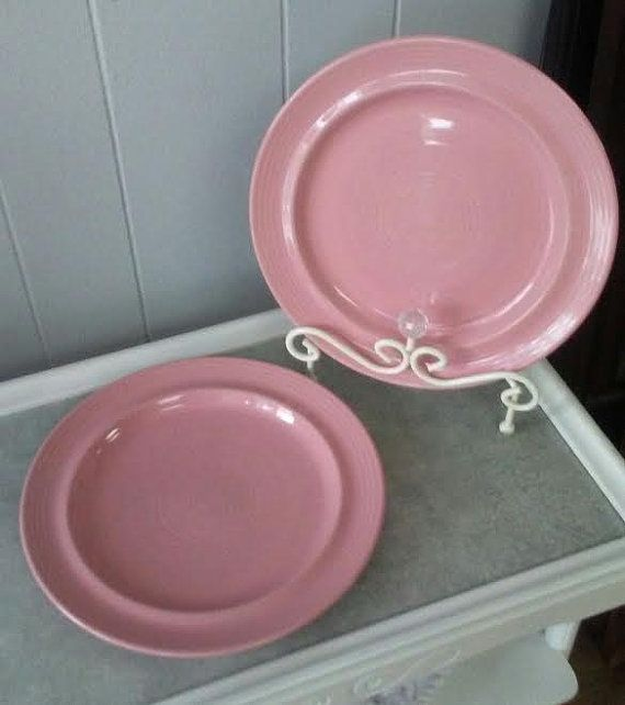 Pink Ceramic Dinner Plates Carnivale Stoneware Plates Vintage Dinner Plates Set of Two(2) Large Plates Pink Stoneware Dinner Plates & Pink Ceramic Dinner Plates Carnivale Stoneware Plates Vintage ...