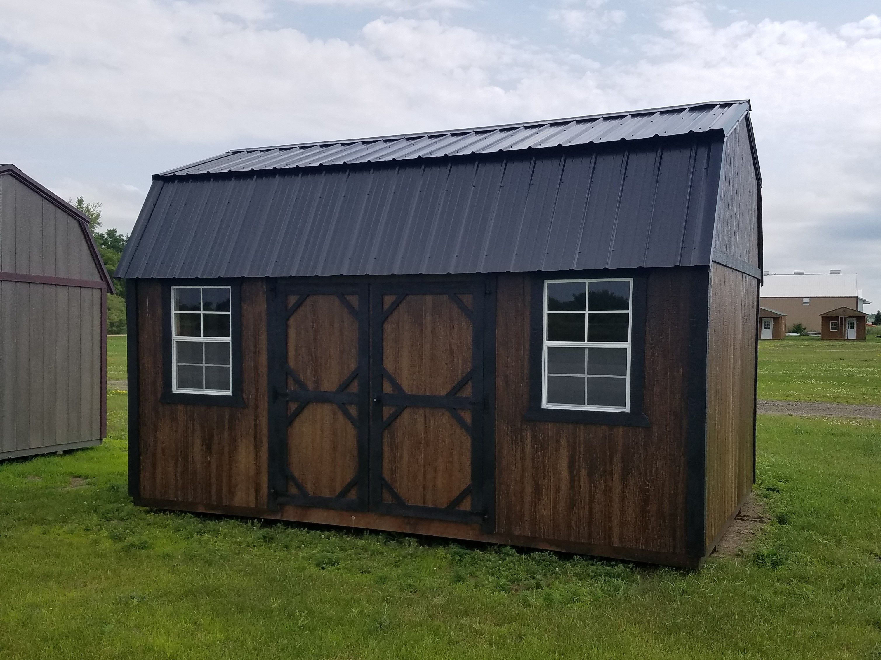 10x16 Side Lofted Barn Built By Grandview Buildings Black Metal Roof Painted Trim Lp Smartside Siding Painted Hal Painted Shed Black Metal Roof Barn Loft