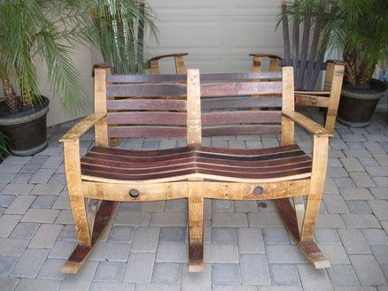 Double rocker out of staves projects pinterest for Wine barrel chair diy