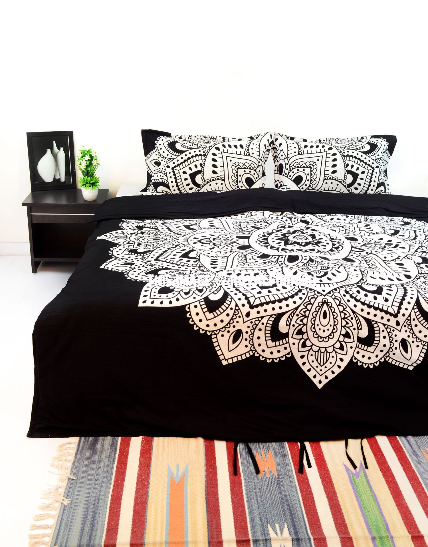 Boho Quilt Covers Australia Black White Mandala Bedding Duvet Cover Set With 2 Pillow Covers