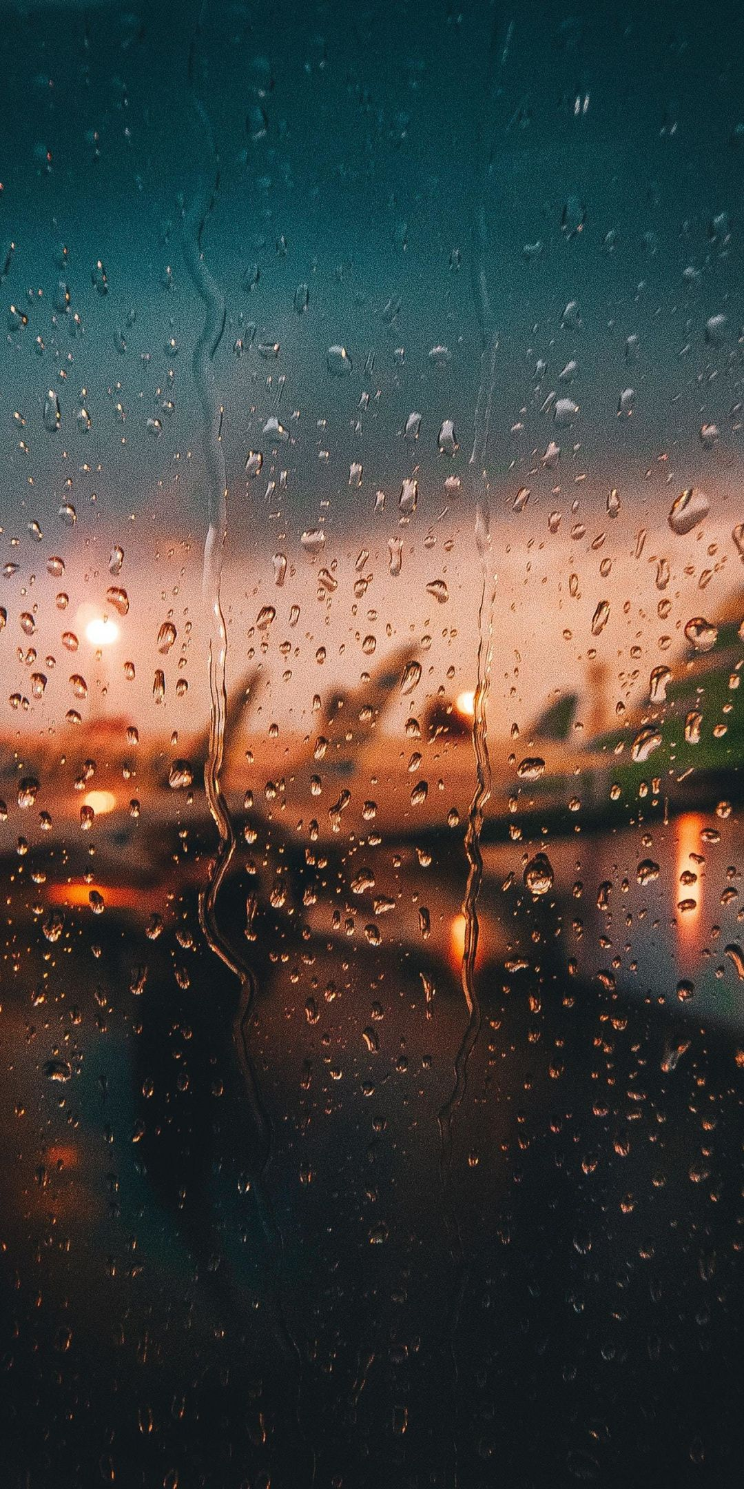 Glass surface, window, airport, sunset, drops, 1080x2160