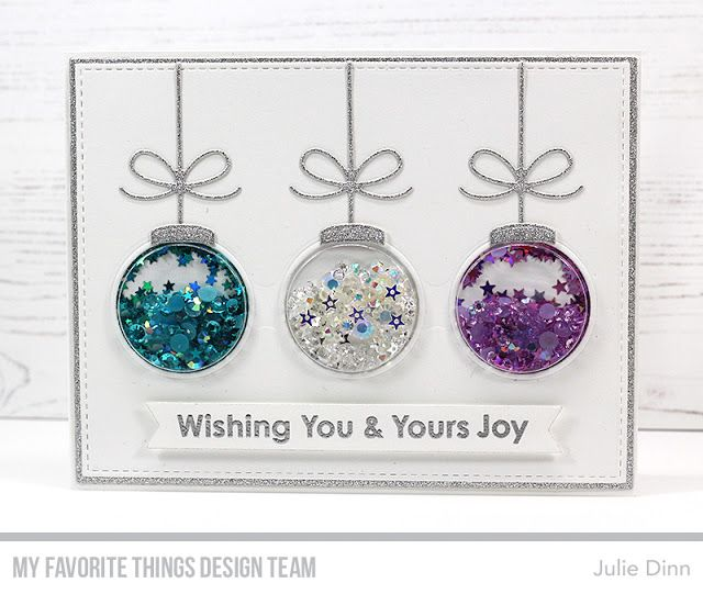 Stamps: Filled with Joy Card Kit   Die-namics: Filled with Joy Card Kit, Circle Trio Shaker Window & Frame, Essential Fishtail Sentiment Strips, A2 Stitched Rectangle STAX Set 2, A2 Rectangle STAX Set 1  Julie Dinn #mftstamps #cardkit