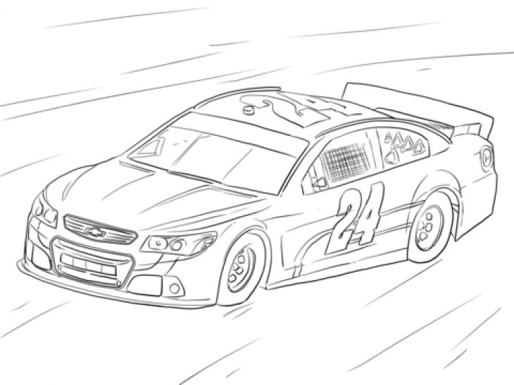 Free Coloring Page Of NASCAR Car Sports Coloring Pages