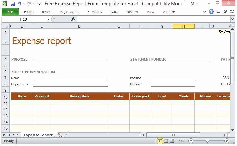 Travel Expense Reimbursement Form Template Best Of Free Expense Report Form Template For Excel Report Template Templates Excel Templates