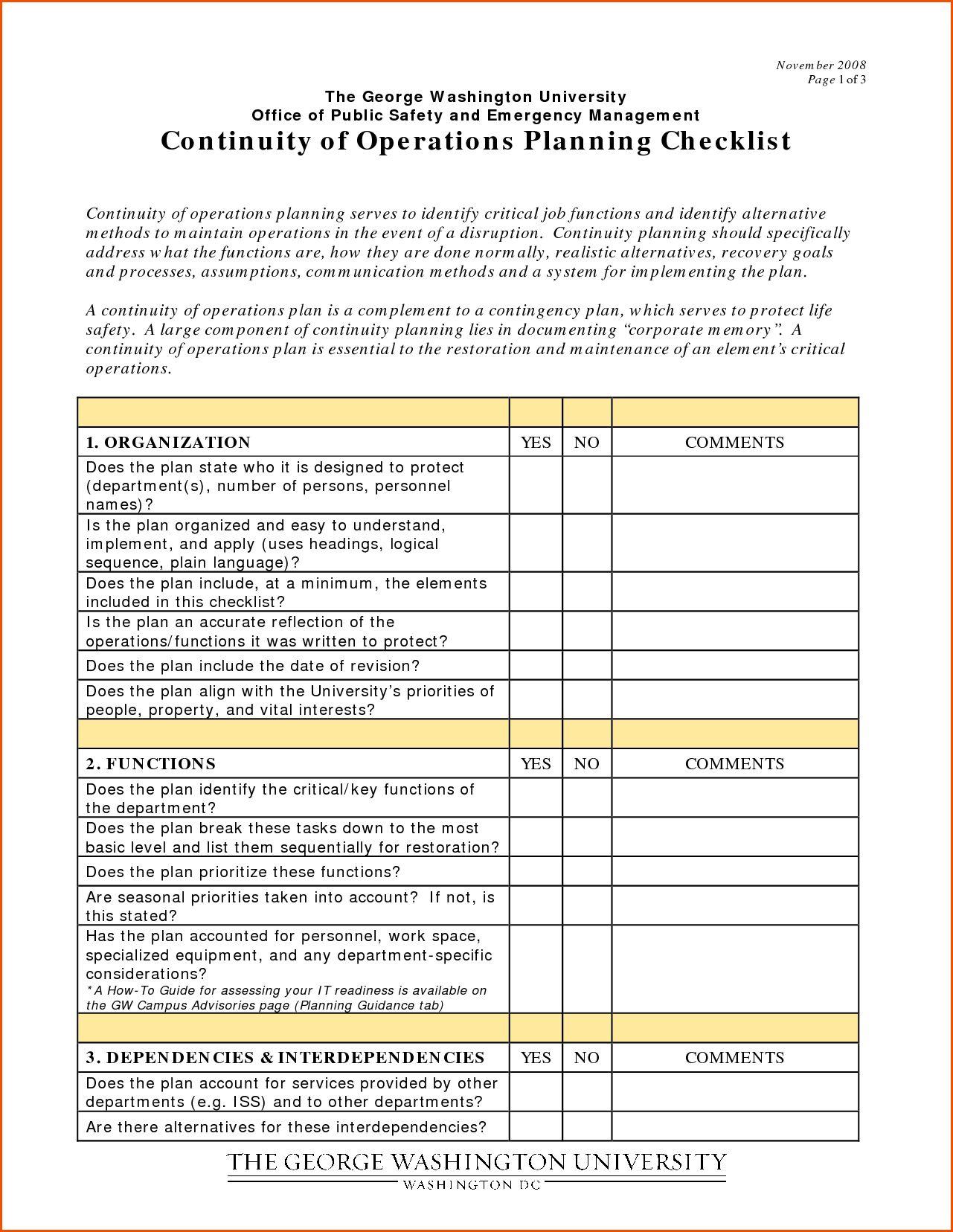 Sample Business Continuity Plan Ist Pdf Audit Development