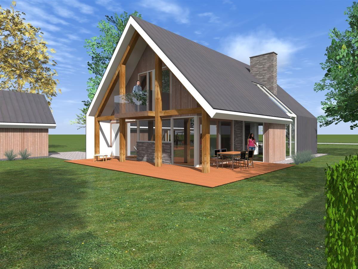 Eigentijdse woning met spantconstructie en balkon aan de