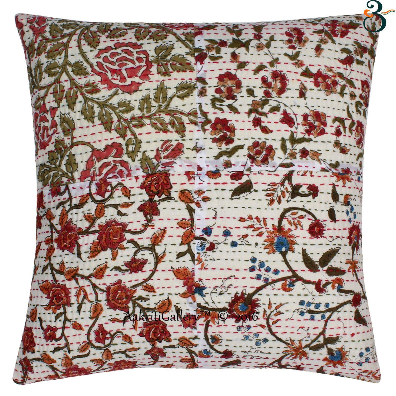 aud floral kantha cm ethnic cotton indian pillow case
