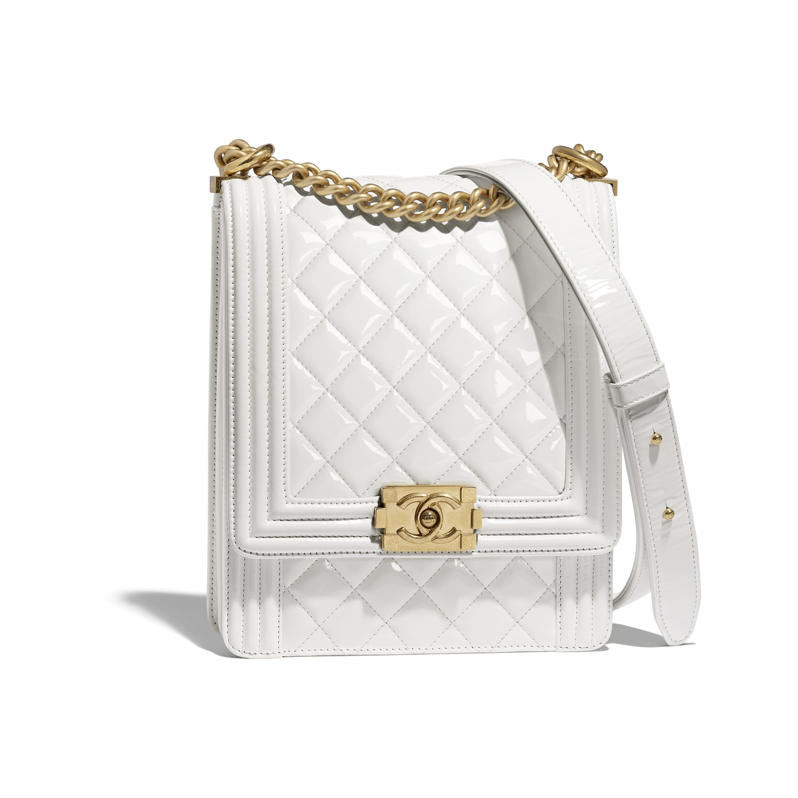 e67b010093c8c BOY CHANEL Handbag - White - Patent Calfskin   Gold-Tone Metal - Default  view - see standard sized version