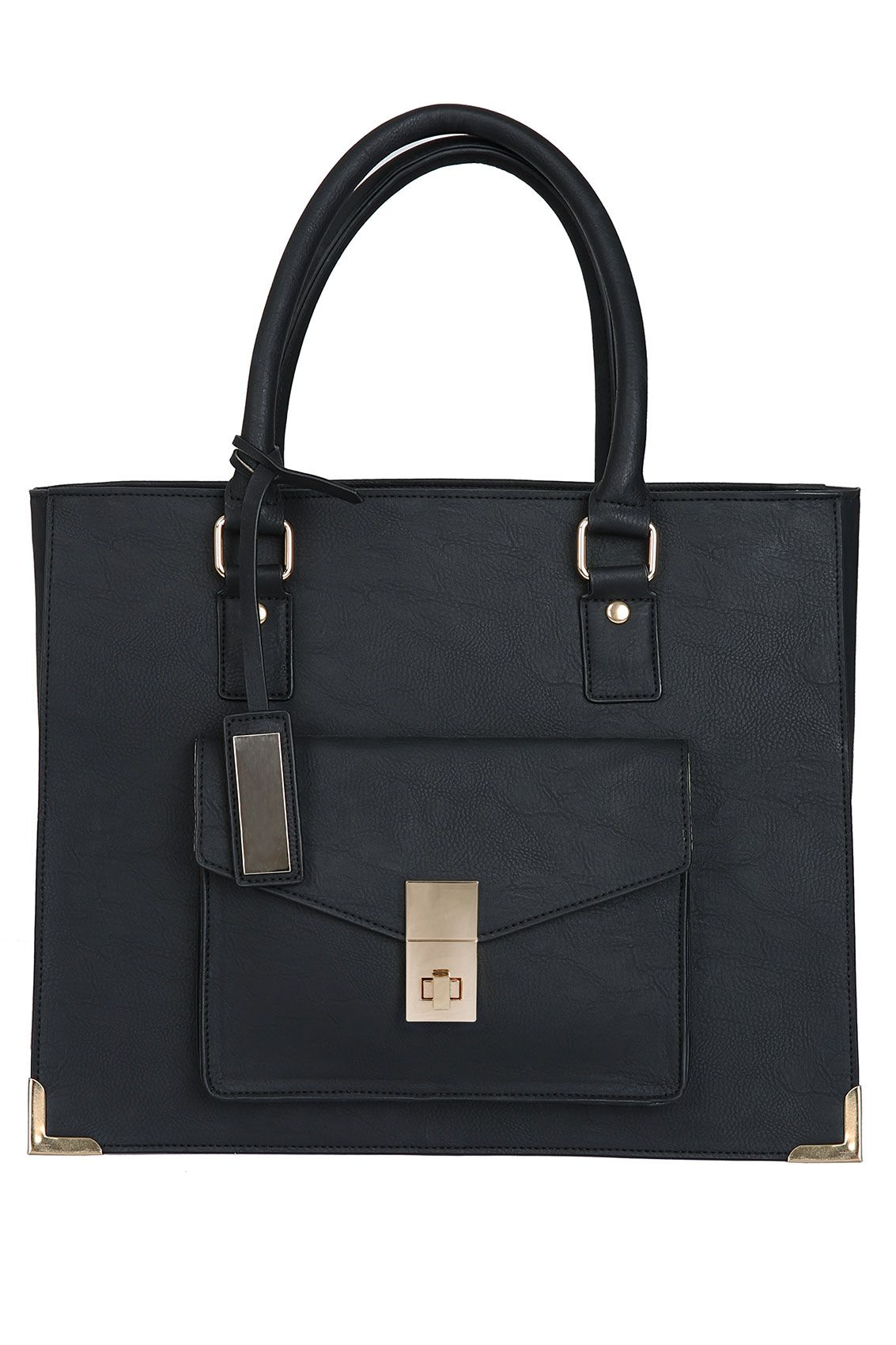 Black Leather Look Structured Tote Bag With Gold Details