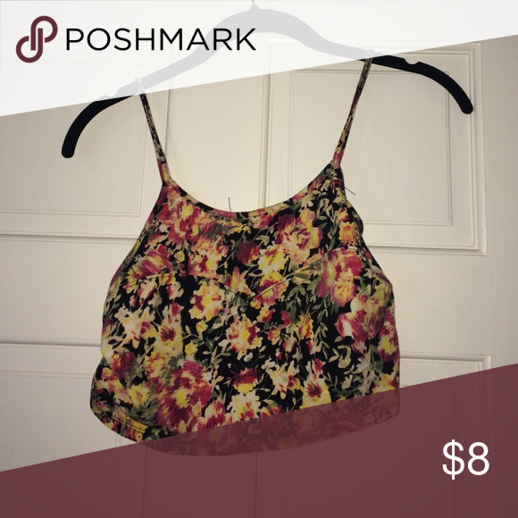 Floral crop top This is a tight fitting, short floral crop top Tops Crop Tops