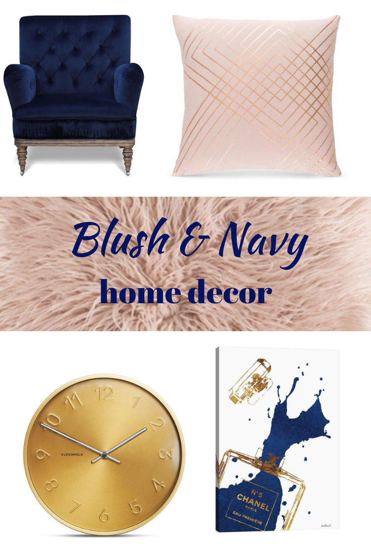 Blush And Navy Room Decor Pink Living Room Furniture Gold Accents Living Room Navy Home Decor #navy #living #room #chair