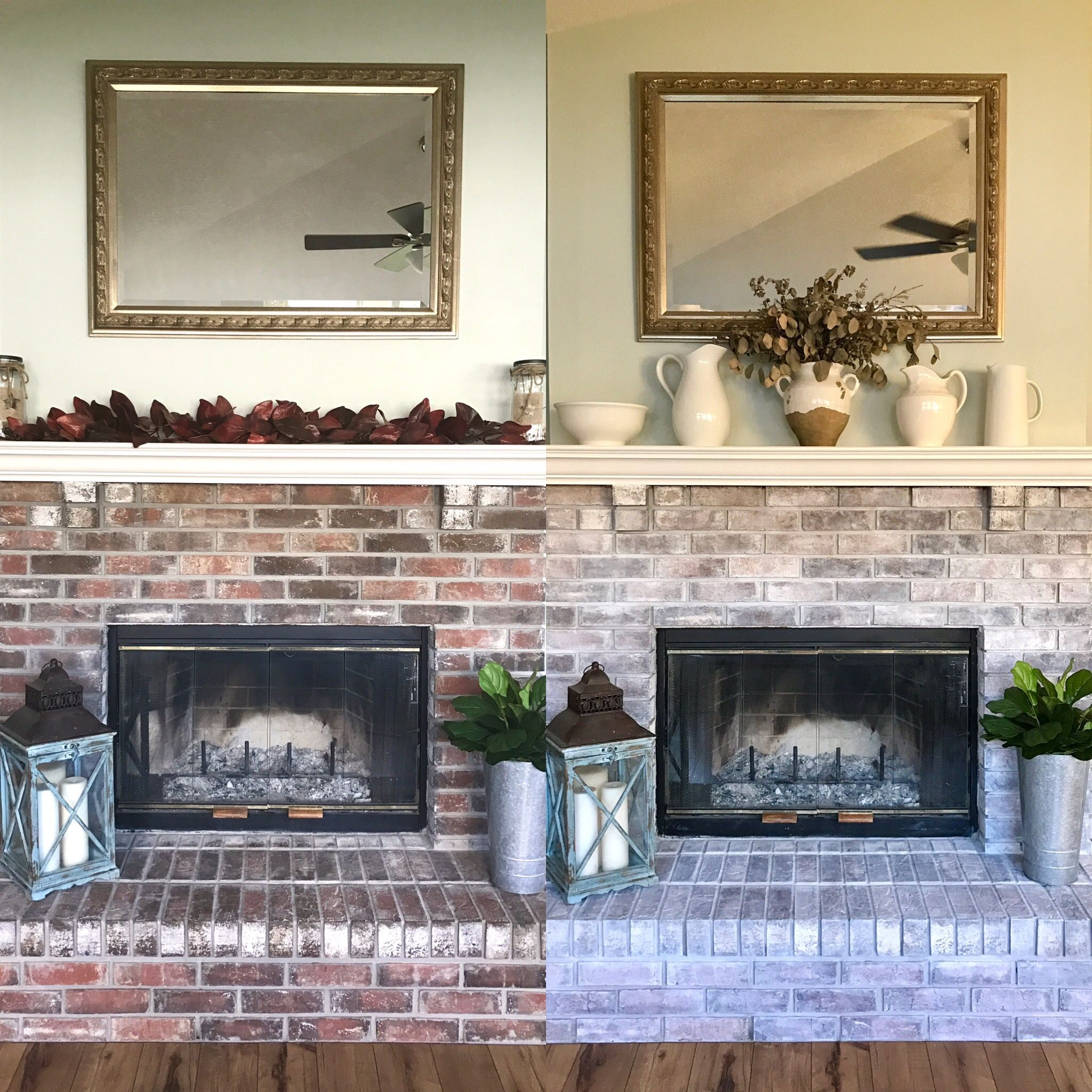 How to whitewash a brick fireplace brick fireplace makeover