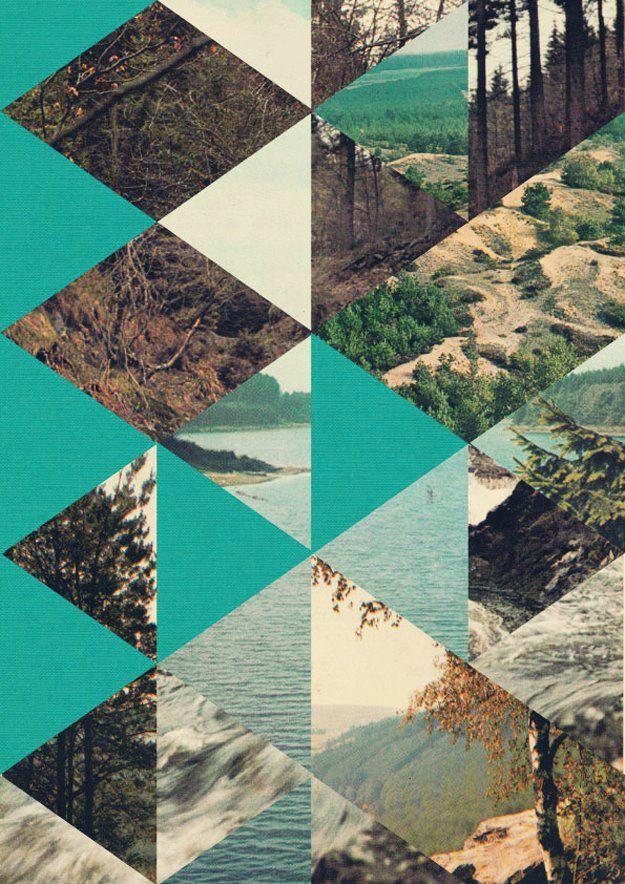 Nice combo of photos and geometric color blocks.