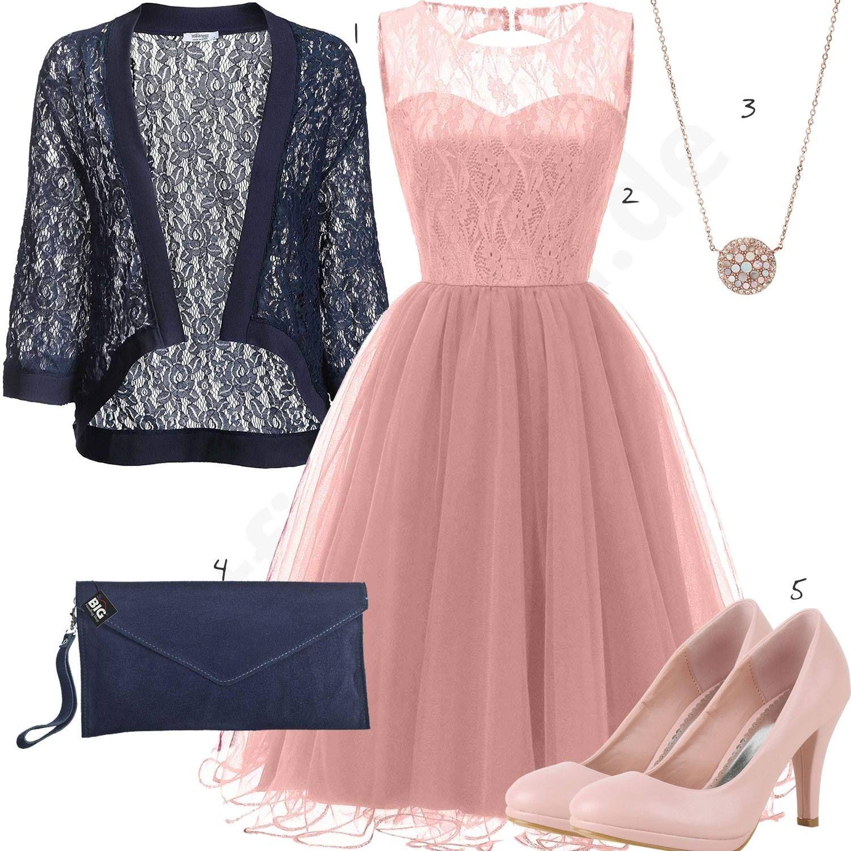 Frauenoutfit mit rosa Kleid, Pumps und Anhänger - outfits19you.de