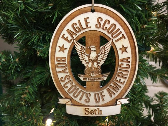 BOY SCOUTS CHRISTMAS TREE ORNAMENT PERSONALIZED /& SHIP FREE
