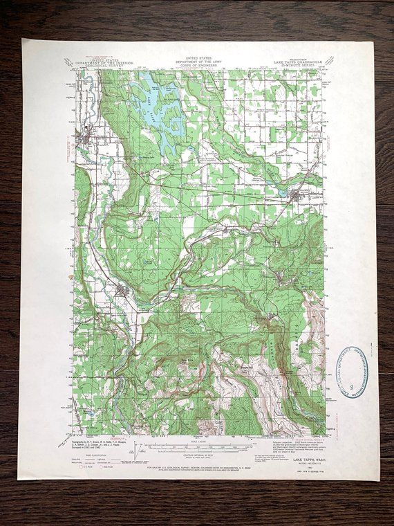 Vintage Lake Tapps Washington 1942 US Geological Survey Map ...