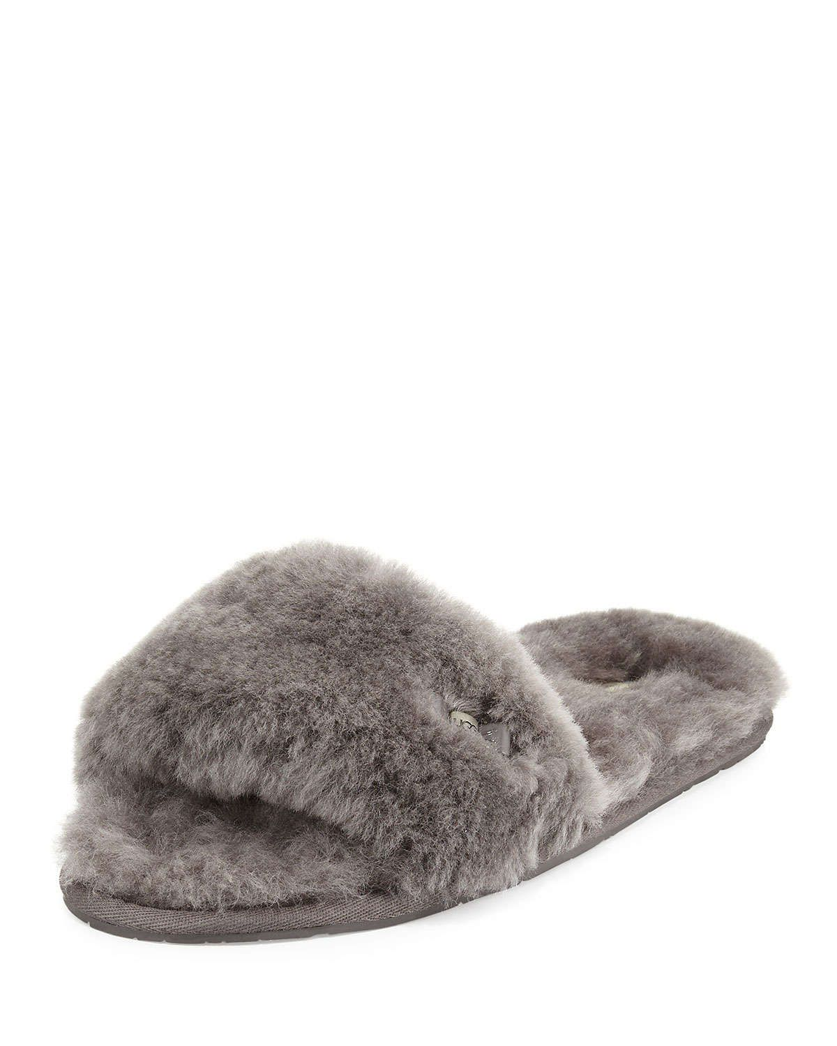 UGG Fluff Shearling Fur Slide Slipper, Gray