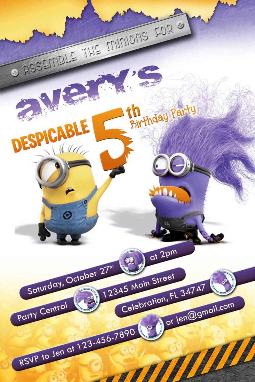 Despicable Me 2 Purple Evil Minion Invitations Party Ideas