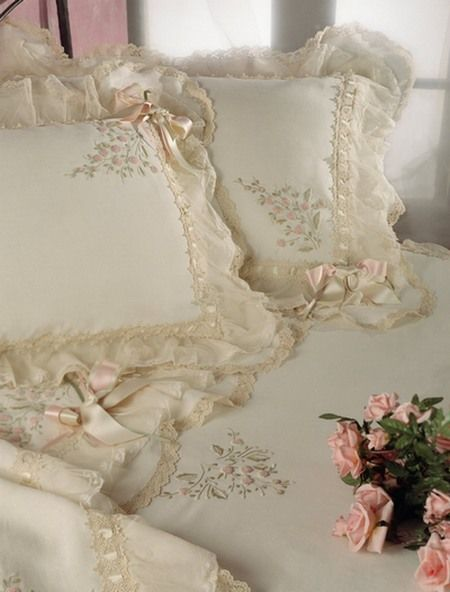 Soft ivory and lace pillows