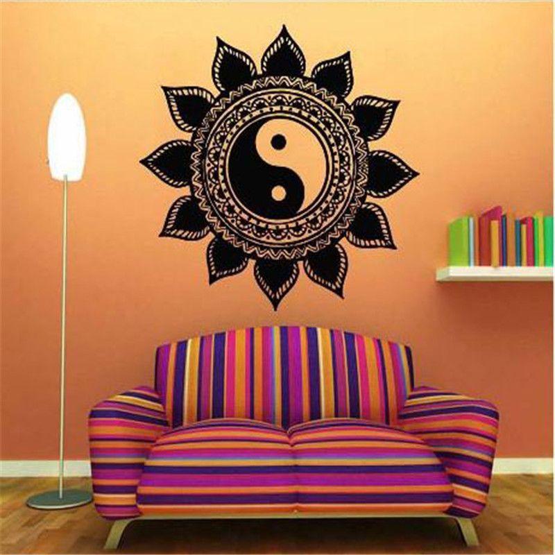 VinilosmantrasyogaMeditacionzendecoracion STORE TRIGONO - Zen wall decalsvinyl wall decal yin yang yoga zen meditation bedroom decor