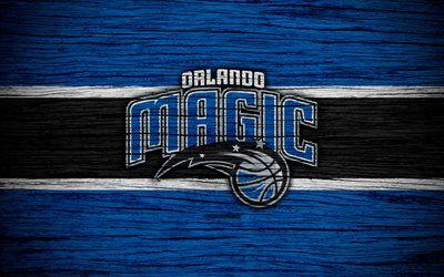 4k, Orlando Magic, NBA, wooden texture, basketball, Eastern Conference, USA, emblem, basketball club, Orlando Magic logo