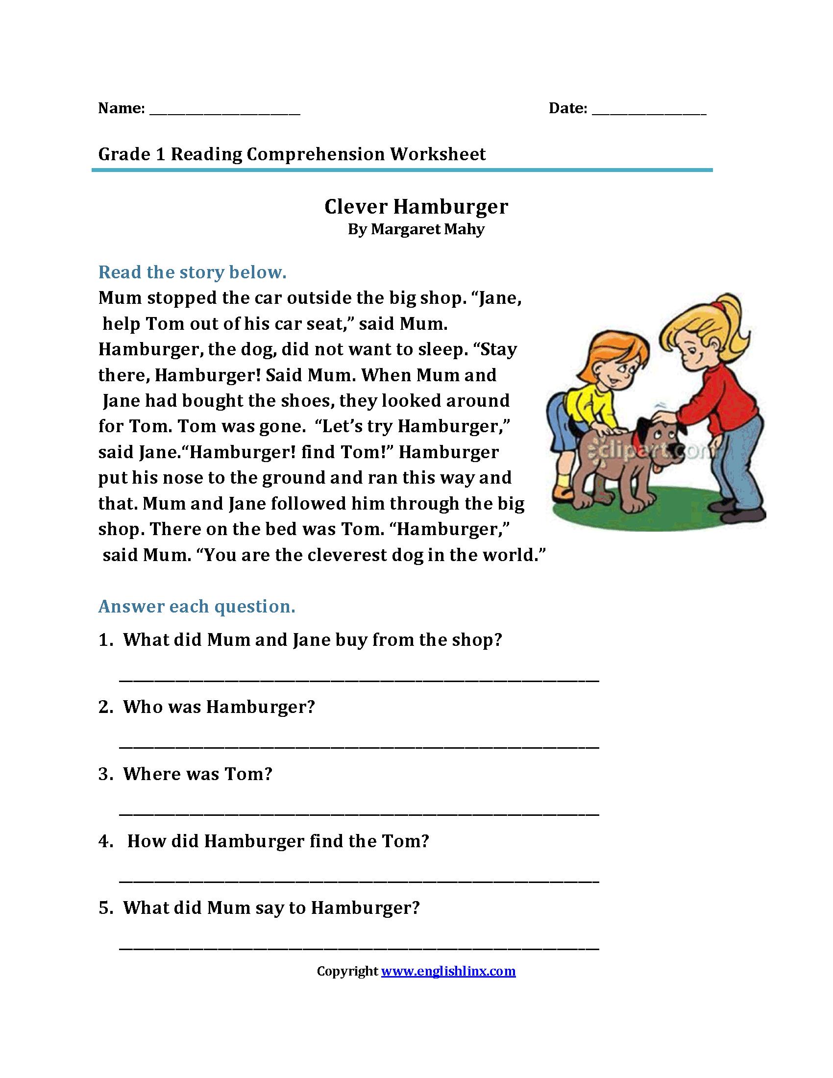 Clever Hamburger First Grade Reading Worksheets
