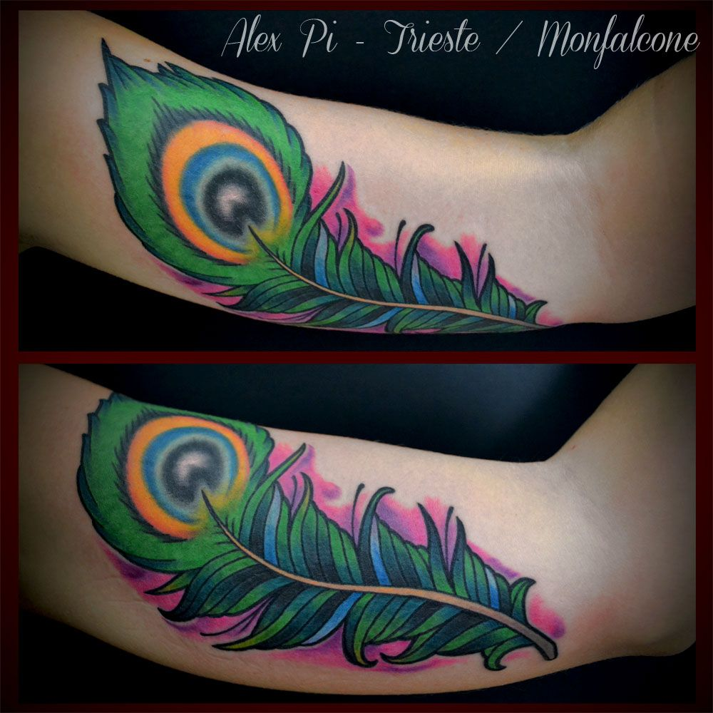 neo traditional peacock feather tattoo on inner bicep my pinterest. Black Bedroom Furniture Sets. Home Design Ideas
