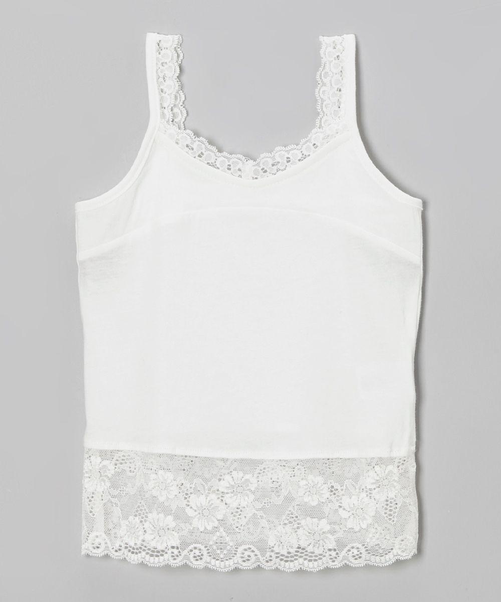 White apron lace trim - White Lace Trim Camisole Infant