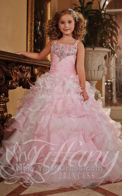 Bonito frisado vestido de baile rosa meninas Pageant vestidos ...